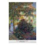 Camille in Argenteuil house garden Claude Monet Poster