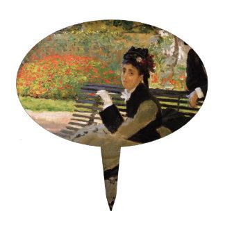 Camille Monet on a Garden Bench - Claude Monet Cake Topper