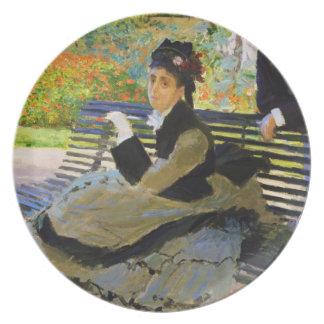 Camille Monet on a Garden Bench Claude Monet Dinner Plates