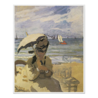 Camille Monet on the Beach at Trouville, 1870 Poster