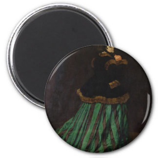 Camille, or The Woman with a Green Dress (1866) 2 Inch Round Magnet