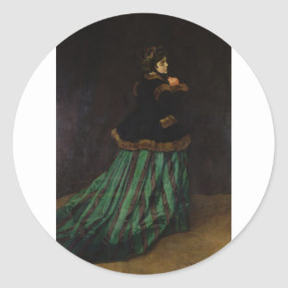 Camille, or The Woman with a Green Dress (1866) Classic Round Sticker