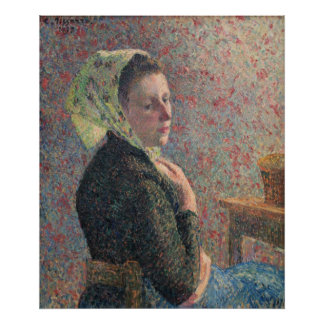 Camille Passarro - Woman w/ Green Scarf oil canvas Poster