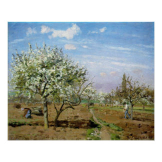 Camille Pissaro - Orchard 1872 Trees White Flowers Posters