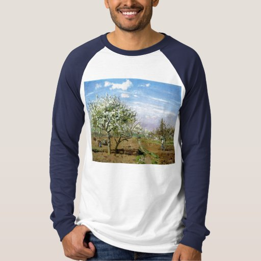 Camille Pissaro - Orchard 1872 Trees White Flowers T-Shirt