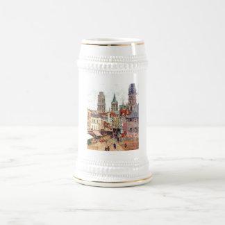 Camille Pissarro - 1898 Grocery Rue Rouen Oil Beer Stein