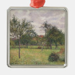 Camille Pissarro- Afternoon in Eragny grey weather Christmas Ornaments