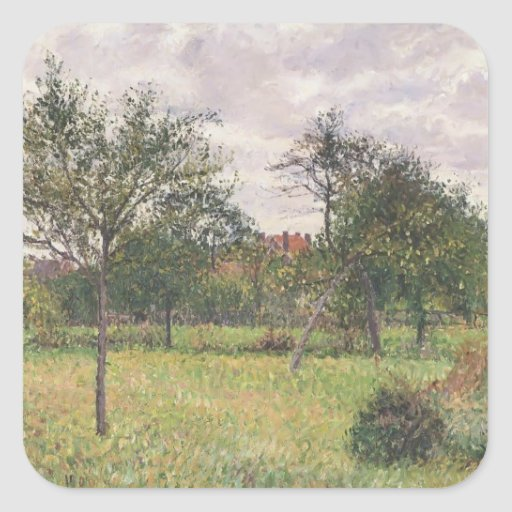 Camille Pissarro- Afternoon in Eragny grey weather Square Stickers