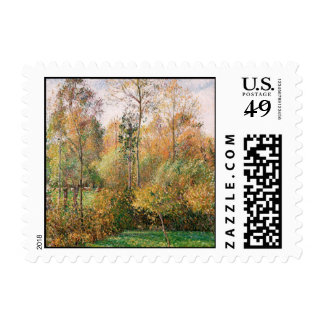 Camille Pissarro - Autumn, Poplars, Eragny Postage Stamp