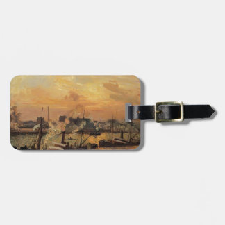 Camille Pissarro- Boats, Sunset, Rouen Travel Bag Tag