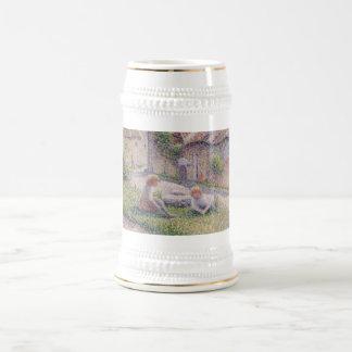 Camille Pissarro - Children on Farm 1887 oil dot Beer Stein