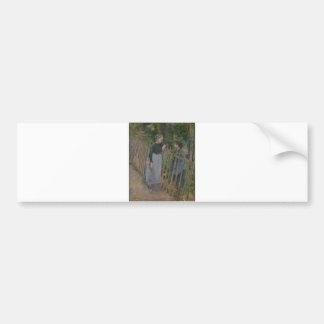 Camille Pissarro - Conversation 1881 Oil on Canvas Bumper Sticker