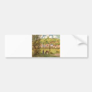 Camille Pissarro - Cowgirl Cow Girl oil on canvas Bumper Sticker