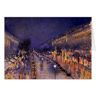 Camille Pissarro el bulevar Montmartre en la noche Felicitación