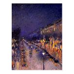 Camille Pissarro el bulevar Montmartre en la noche Tarjetas Postales