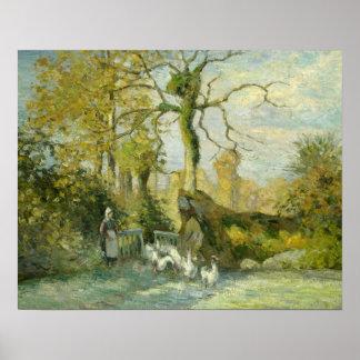 Camille Pissarro - el chica del ganso en Póster