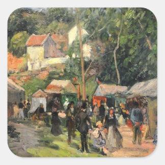 Camille Pissarro- Festival at the Hermitage Square Sticker
