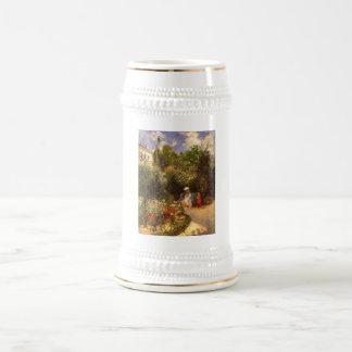 Camille Pissarro - Garden 1877 bench shade tree Beer Stein