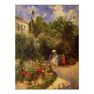 Camille Pissarro - Garden 1877 bench shade tree Posters