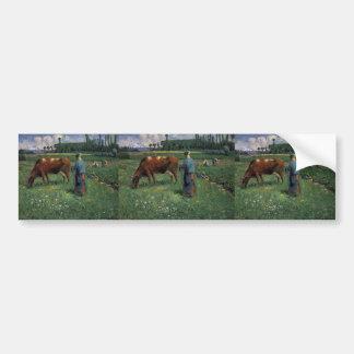 Camille Pissarro- Girl Tending a Cow in Pasture Bumper Stickers