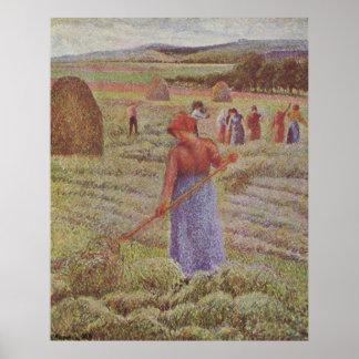 Camille Pissarro - Hay @ Eragny Farmer 1889 Oil Poster