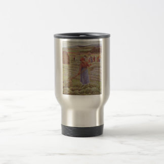 Camille Pissarro - Hay @ Eragny Farmer 1889 Oil Travel Mug