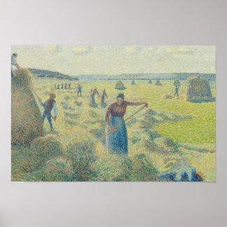 Camille Pissarro - la cosecha del heno, Eragny Póster