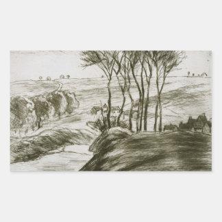 Camille Pissarro - Landscape Near Osny (State II) Rectangular Sticker