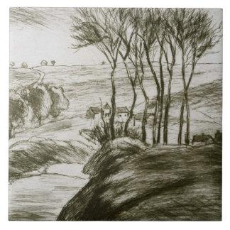 Camille Pissarro - Landscape Near Osny (State II) Tile