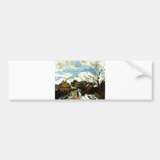 Camille Pissarro - Norwood - man road house smoke Bumper Sticker
