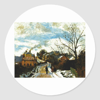 Camille Pissarro - Norwood - man road house smoke Classic Round Sticker
