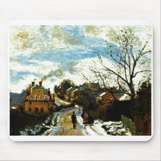 Camille Pissarro - Norwood - man road house smoke Mouse Pad