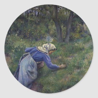Camille Pissarro- Peasant Gathering Grass Stickers