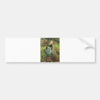 Camille Pissarro - Peasant Girl w. Stick 1881 Oil Bumper Sticker