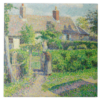Camille Pissarro - Peasants' houses, Eragny Tile