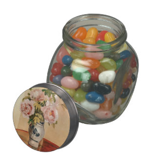 Camille Pissarro- Pink Peonies Jelly Belly Candy Jar