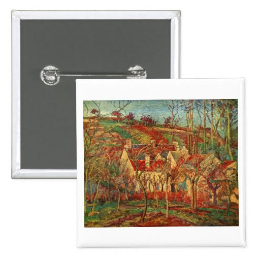 Camille Pissarro - Red Roofs 1877 Oil Canvas house 2 Inch Square Button