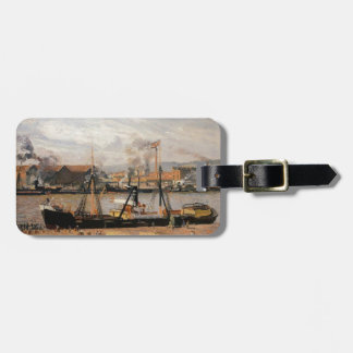 Camille Pissarro- Rouen Port, Unloading Wood Travel Bag Tags