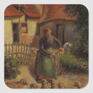 Camille Pissarro- Shepherdess Bringing in Sheep Square Stickers