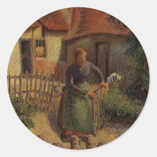 Camille Pissarro- Shepherdess Bringing in Sheep Stickers