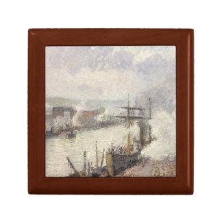 Camille Pissarro - Steamboats in the Port of Rouen Keepsake Box