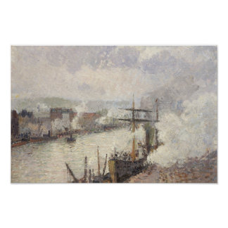 Camille Pissarro - Steamboats in the Port of Rouen Poster