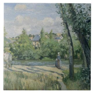 Camille Pissarro - Sunlight on the Road, Pontoise Tile