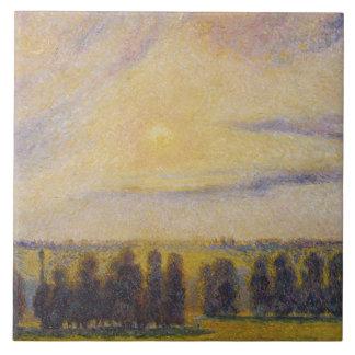 Camille Pissarro - Sunset at Eragny Ceramic Tile