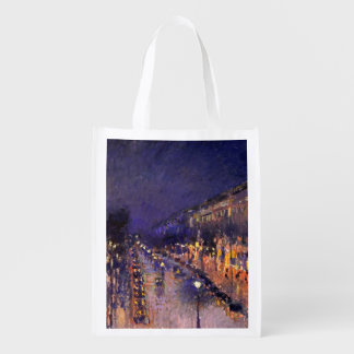 Camille Pissarro The Boulevard Montmartre At Night Grocery Bag
