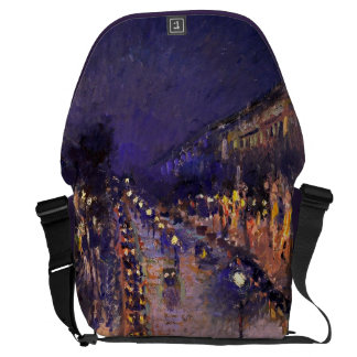 Camille Pissarro The Boulevard Montmartre At Night Messenger Bag