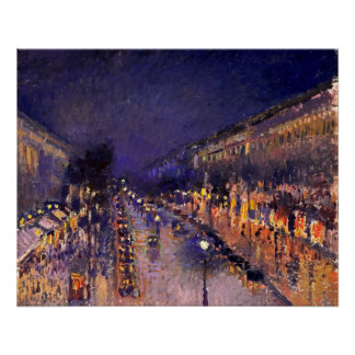 Camille Pissarro The Boulevard Montmartre At Night Poster