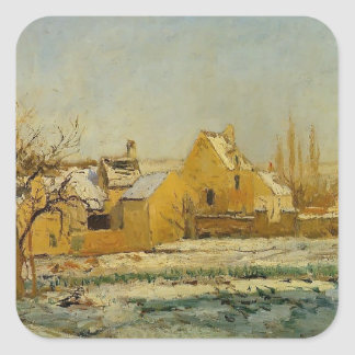 Camille Pissarro- The Effect of Snow at Hermitage Square Stickers