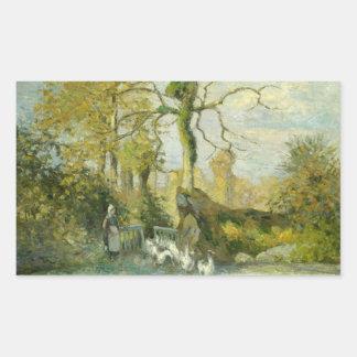 Camille Pissarro - The Goose Girl at Montfoucault Rectangular Sticker