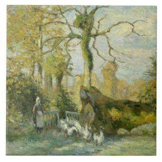 Camille Pissarro - The Goose Girl at Montfoucault Tile